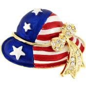 Patriotic American Flag Hat Crystal Pin Brooch