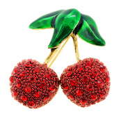 Red Cherry Fruit Crystal Pin Brooch