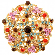 MultiColor Golden Flower Wedding Crystal Brooch/Pendant