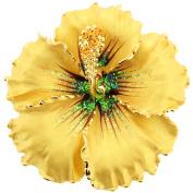 Topaz Hawaiian Hibiscus . Crystal Flower Brooch and Pendant