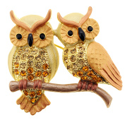 Topaz Brown Couple Owl Crystal Pin Brooch