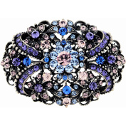 Multicolor Purple . Crystal Flower Pin Brooch and Pendant