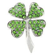 Bright Green St. Patrick's Day Four Leaf Clover Crystal Pin Brooch