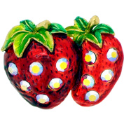 Red Strawberry . Crystal Fruit Pin Brooch