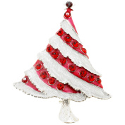 White Red Christmas Tree Crystal Pin Brooch