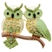 Green Couple Owl . Crystal Pin Brooch