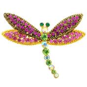 Multicolor Dragonfly Crystal Pin Brooch