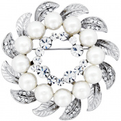 White Pearl Wreath Pin Brooch