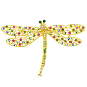 Multicolor Golden Dragonfly Crystal Pin Brooch And Pendant
