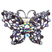 Amethyst Purple Butterfly Pin . Crystal Pin Brooch and Pendant