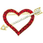 Red Heart . Crystal Pin Brooch