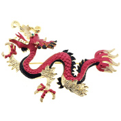Ruby Red Chinese Dragon . Crystal Pin Brooch