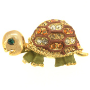 Brown Green Turtle . Crystal Brooches Pins