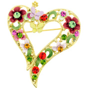 Red Multicolor Butterfly And Flower Heart . Crystal Pin Brooch And Pendant