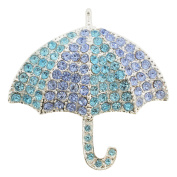 Turquoise Blue Umbrella Crystal Pin Brooch