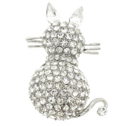 Chrome Cat Kitty Crystal Pin Brooch