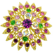 Multicolor Flower Bridal Wedding Crystal Pin Brooch and Pendant