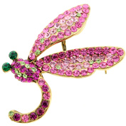 Pink Dragonfly . Crystal Pin Brooch and Pendant