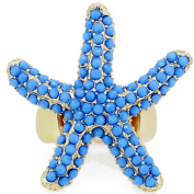 Gold Plated Blue Starfish Stretch Ring