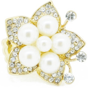 Gold Plated Crystal And White Pearl Flower Stretch Ring