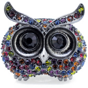 Black Owl Multicolor Crystal Prayer Box Locket Stretch Ring