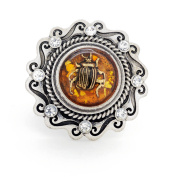 Plated Silver Crystal Amber Insect Casting Vintage Style Stretch Ring