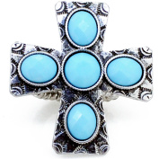 Plated Silver Cross Vintage Style Stretch Ring