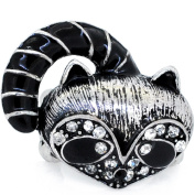 Plated Silver Raccoon Vintage Style Stretch Ring