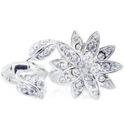 Plated Silver Crystal Flower Stretch Ring