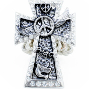 Silver Plated Crystal Cross Stretch Ring