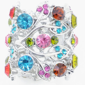 Silver Plated Multicolor Crystal Garland Stretch Ring