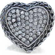 Crystal Heart Vintage Style Stretch Ring