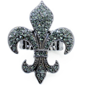 Crystal Vintage Style Fleur-De-Lis Sign Stretch Ring
