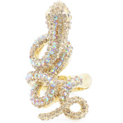 Gold Plated Crystal Snake Stretch Ring