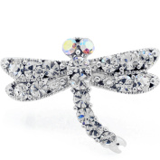 Silver Plated Crystal Dragon Fly Adjustable Cameo Ring