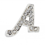 Chrome Letter A Crystal Lapel Pin