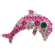 Pink Dolphin . Crystal Brooch Pin