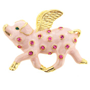 Pink When Pigs Fly . Crystal Brooch Pin