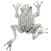 Silver Chrome Frog Crystal Pin Brooch