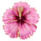 Pink Hawaiian Hibiscus . Crystal Flower Pin Brooch And Pendant