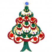 Multicolor Christmas Tree . Crystal Pin Brooche