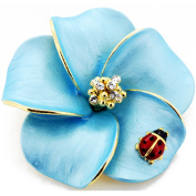 Blue Hawaiian Plumeria With Red Ladybug . Crystal Pin Brooch and Pendant