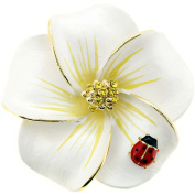 White Hawaiian Plumeria With Red Ladybug . Crystal Flower Pin Brooch and Pendant
