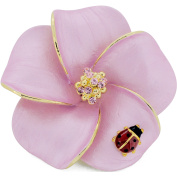 Pink Hawaiian Plumeria With Red Ladybug Flower . Crystal Pin Brooch and Pendant