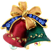 Green And Red Christmas Bell Bow . Crystal Pin Brooch