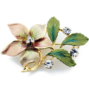 Golden Topaz Flower . Crystal Pin Brooch