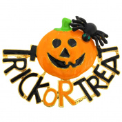 Trick or Treat Pumpkin With Spider Halloween Pin Brooch And Pendant