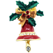 Red Christmas Bell Bow . Crystal Lapel Pin