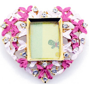 Pink Heart Picture Frame . Crystal Pin Brooch