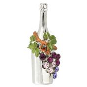 Purple Grape Winebottle . Crystal Pin Brooch